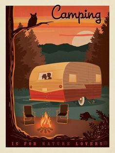 Vintage Travel Camping is for Nature Lovers - Camping is for Nature Lovers. Decorate your lodge, cabin or happy place with this cozy print. It will make you will smile and think about your favorite nature lover! Camping Hacks, Camping Glamping, Camping Life, Outdoor Camping, Camping Gear, Camping Equipment, Camping Style, Hiking Gear, Camping Trailers