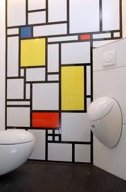 Piet Mondrian wallpaper and Laufen IL BAGNO ALESSI ONE