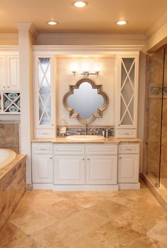 Dream bathroom with a great tiled vanity and backsplash. #thetileshop