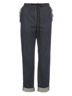 Frayed-edge drawstring denim trousers by Tomas Maier | Shop now at #MATCHESFASHION.COM