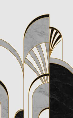 Create a cool interior with this amazing Gatsby inspired black & white art deco arches wallpaper mural design. Casa Art Deco, Art Deco Stil, Modern Art Deco, Art Deco Home, Space Wallpaper, Art Deco Wallpaper, Pattern Wallpaper, Art Deco Artwork, Art Deco Paintings