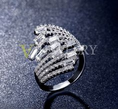 CZ Cocktail Ring  Large Ring  Multi Band Ring  Art Deco