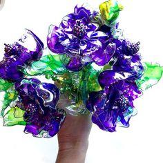 Unique Purple Wedding Bouquet Jeweled Brooch by ArtePlastique
