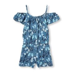 Girls Short Cold-Shoulder Sleeve Butterfly Print Chambray Romper