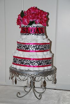 diaper cake i want someone to make for meeeee my baby shower is march 5th...instead of pink we could use emerald green..........any takers?
