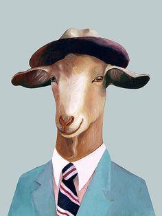 Mr Goat Art Print Goat Poster Kids Wall Art Goat by AnimalCrew