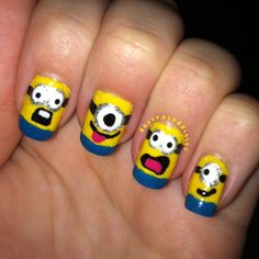 Despicable Me minion nails by decorateddigits