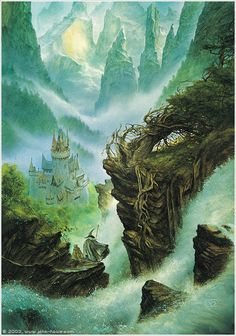 Descent into Rivendell ~ John Howe   rings hobbit   http://www.amazon.com/gp/product/B008693EDC?ie=UTF8=A1JZHG9III7SDE=GANDALF%20THE%20GRAYZZ%20BOOKSTORE