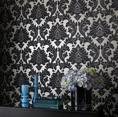 Majestic Wallpaper in Black and Gold Wallpaper by Graham and Brown. Burkedecor.com Never thought I would look at wallpaper but I love this!