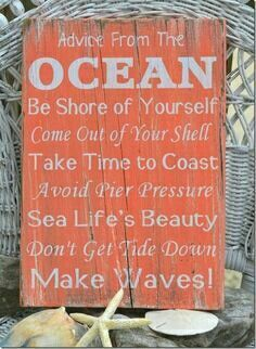 Ocean quote. Paint a island sunset scene (with black palm trees), stick on stencil lettering for this, paint white over the top, and pull off letter stickers