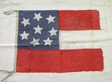 Rare 8-Star Confederate Civil War Battle Flag This is an early Civil War period First National 'Stars & Bars' flag. Virginia was the 8th state to join the Confederacy and for only a 3 week period there were 8 states in the CSA. Dimensions of this flag are 19 1/2 inches wide by 27 inches long. It is basted to a piece of unbleached sail-cloth. Gauze like fabric appears homespun completely hand sewn, all the seams are done in the 'French' folded over style.