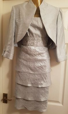 NWOT R&M Richards Mother of the Bride Silver Wedding/Christening Dress Set, Two Piece Dress, Bridesmaid Jewelry Sets, Silver Dress, Jacket Dress, Christening, Mother Of The Bride, Formal Dresses, Lady