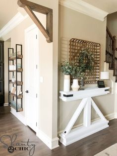 Narrow Truss Console, Home Decor, DIY Narrow Console Table - Shanty 2 Chic Farmhouse Homes, Farmhouse Decor, Modern Farmhouse, Narrow Console Table, Narrow Entryway Table, Diy Home Decor, Room Decor, Farmhouse Side Table, Creation Deco