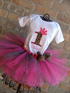 Hot Pink/Cheetah Birthday Crown Tutu Outfit by TickleMyTutu, $49.95