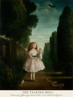 """""""The Talking Doll""""~Artwork © Stephen Mackey Stephen Mackey Stephen Mackey, Science Fiction, Goth Art, Lowbrow Art, Pop Surrealism, Surreal Art, Halloween Themes, Art Pictures, Painting & Drawing"""