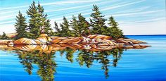 North Shore, Georgian Bay, Oil on canvas, 18 inches x 36 inches, SOLD Fantasy Art Landscapes, Landscape Drawings, Landscape Art, Beautiful Landscapes, Realistic Oil Painting, Acrylic Painting Lessons, Acrylic Art, Watercolor Painting, Art Pictures