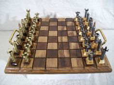 Caliber .223: Chess set made from scrap metallic bullet shells | Greendiary : Greendiary – Let's go green and save the environment for a sustainable future