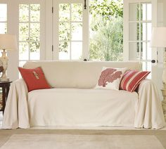 Dollar Store D'ecor: Couch Makeover with drop cloths    http://www.amazon.com/Essentials-9-Feet-12-Feet-Canvas-HW912/dp/B000ICKO6A