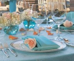 tiffany blue and light pink wedding theme | Tiffany blue with coral.