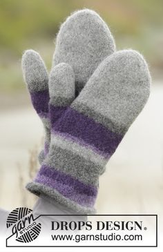 """Polar stripes / DROPS - free knitting patterns by DROPS design Polar Stripes - Knitted and felted DROPS mittens in """"Lima"""" with stripes. - Free pattern by DROPS Design Record of Knitti. Knitted Mittens Pattern, Knit Mittens, Knitting Patterns Free, Free Knitting, Crochet Patterns, Felted Slippers Pattern, Felt Patterns, Free Pattern, The Mitten"""