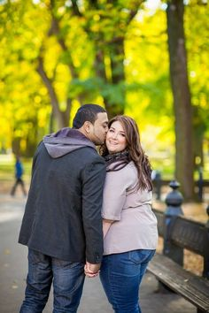 {Real Curvy Engagement} Central Park Fall Engagement