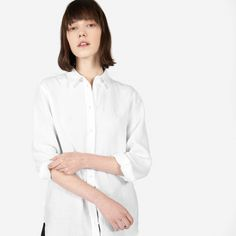 This relaxed linen shirt has a raw, organic texture that creates a perfectly lived-in look 100% linen Features point collar Looks great styled more relaxed with the first few buttons undone  Machine wash cold, tumble dry low