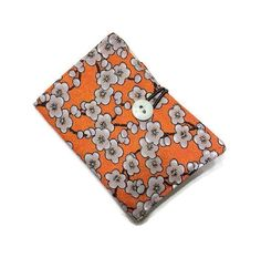 Tea Bag Wallet  Container Holder Orange Gray by cozylittlecorner