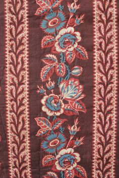 Antique French roller +woodblock printed cotton early century c 1820 Old Quilts, Antique Quilts, Vintage Textiles, Vintage Prints, Textile News, Textile Prints, Paisley, French Fabric, Indian