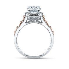 Peter Lam Luxury Royal Tiara 14K White and Rose Gold Diamond Engagement Ring Setting