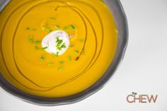 Acorn Squash Soup Recipe by Mario Batali - The Chew The Chew Recipes, Chef Recipes, Soup Recipes, Cooking Recipes, Acorn Squash Soup Recipe, Butternut Squash, Winter Squash Soup, Protein, Mario Batali