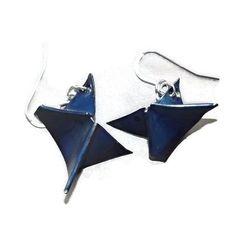 blue fold formed copper earrings by LunaLocoJewellery on Etsy