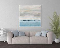 Abstract Seascape Wall Art, Ocean Beach Coastal Art Print, Blue Gray Large Canvas Art, Modern Square Artwork for Living Room, Giclee Print Large Canvas Art, Diy Canvas Art, Canvas Art Prints, Square Art, Tropical Art, Blue Painting, Wall Art For Sale, Coastal Art, Seascape Paintings