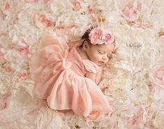 Tia Dress • Newborn Princess • Newborn Sheer Dress • Sitter Set with Bow • Adorable Newborn Gown • by Sew Trendy