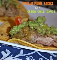 Pulled pork tacos with green chile sauce