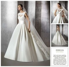 Mikado silk princess gown with illusion bateau neckline  01302 744387