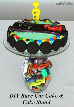 DIY Race Car Cake & Cake Stand - Simple, colorful race car themed cake and cake stand Could use Legos also in the vase!