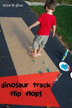 Dinosaur Track Flip Flops from Wine & Glue #dinosaur #diy #gift