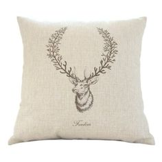 "Amazon.com - MagicPieces Cotton and Flax Wild Deer Print Decorative Pillow Cover Case A 18"" x 18"" Square Shape-animal print-deer-freedom-antler-buck head    $16.99"