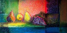 Világító gyümölcsök_40x80 cm_vegyes technika, vászon_2016_mcsv, Budapest