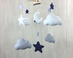 Baby mobile - star mobile - moon mobile - cloud mobile - nursery mobile - navy and grey - baby mobiles - nursery decor