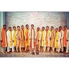 Groom & His Groomsmen : love the coordinated creams & beiges kurtas with the orange & yellow dupattas  #indianwedding