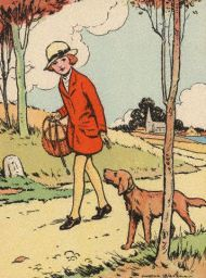 Girl walking pup