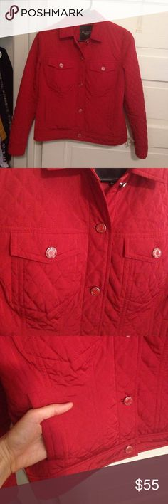 Talbots petites size 2 quilted jacket Lighter weight, but very warm. Like new condition. Double breast pockets as well as side pockets. Red Talbots buttons, including at wrist and waist for personal tailoring. Smoke free home. Talbots Jackets & Coats