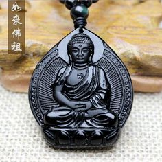 Natural Black Obsidian Buddha Hand-Carved Necklace