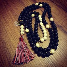 Black lava and white howlite #108beads #mala  #unique_design from Dharmagems Design Studio ☀   #dharmagems #yogajewelry #malabeads #gemstones