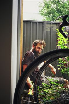 full thick dark beard and mustache beards bearded man bicycle cyclist so handsome #beardsforever
