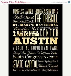 ON SALE Austin Texas Typography Art Poster / Bus by LegacyHouseArt, $39.95
