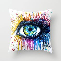 """""""Rainbow Eye"""" by PeeGeeArts as a high quality Throw Pillow. Free Worldwide Shipping available at Society6.com from 11/26/14 thru 12/14/14. Just one of millions of products available."""