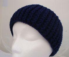 Crochet Headband Adult Earmuff Dark Blue Headband by CherylsKnits, $20.00