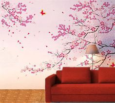 Great Wandtattoo Wanddekoration Cherry blossom baum Whole Visual approx Overall size which suit for the Wall size Wide from to with Height from to need